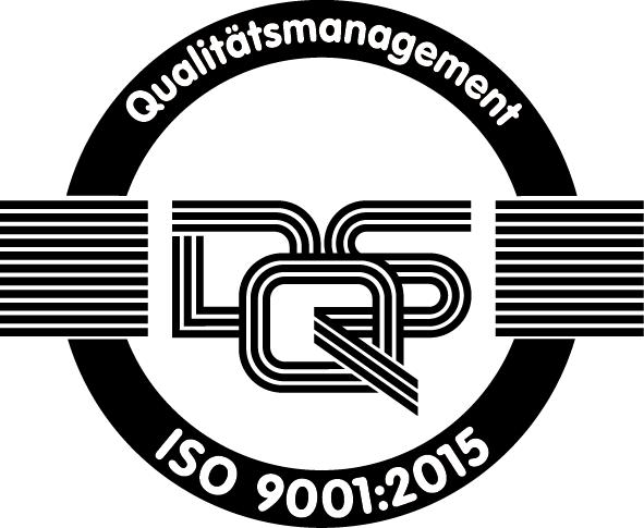 Zertifikats-Logo des DQS zum Standard DIN EN ISO 9001:2015
