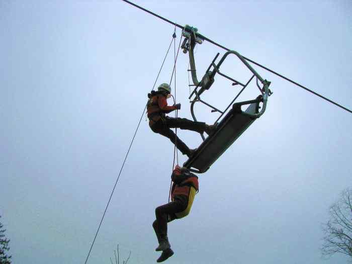 Das Bild zeigt die eine Einsatzsituation der Bergwacht bei der Rettung einer verletzten Person