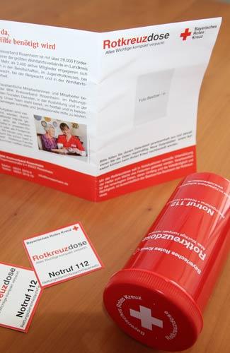 Foto zeigt Rotkreuzdose mit Inhalt