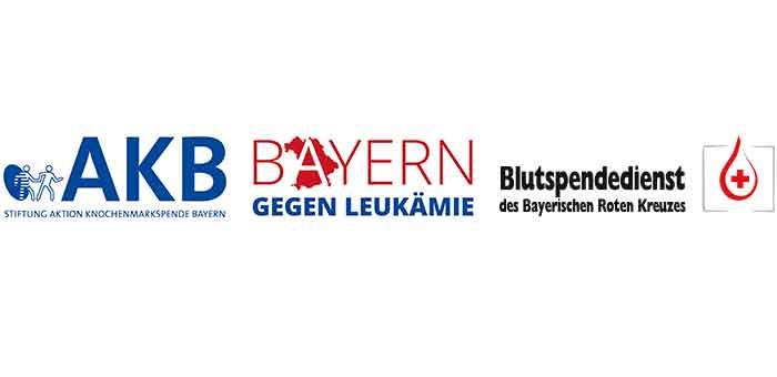 Das Bild zeigt die Logos des AKB, Bayern gegen Leukämie und des BSD