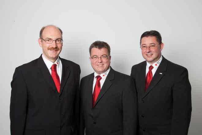 Bild zeigt die Mitglieder der Kreisgeschäftsführung. Von links nach rechts: Stefan Müller, Martin Schmidt und Thomas Neugebauer.
