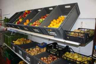 Das Bild zeigt Kisten mit Obst und Gemüse.