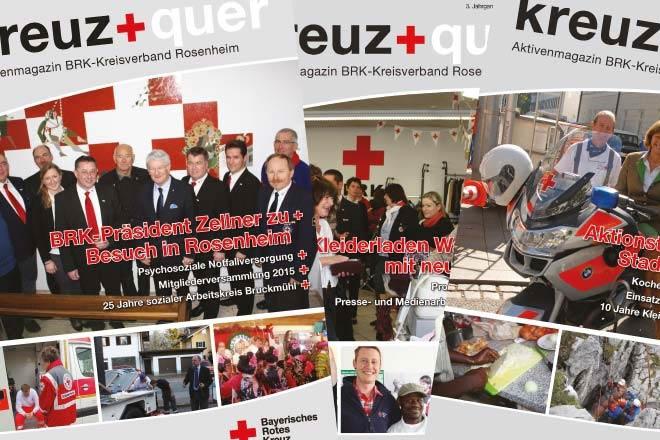 Bild zeigt verschiedene Ausgaben des BRK-Aktivenmagazins kreuz+quer.
